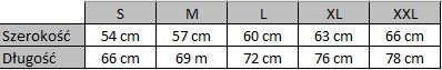 Tabela rozmiarów bluza